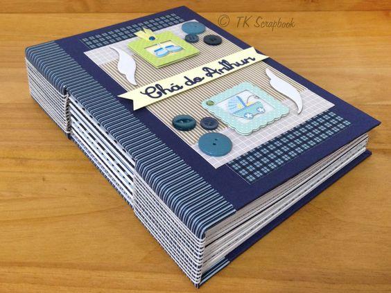 Caderno em scrapbook com encadernação tipo longstitch (visão geral e lateral) #tkscrapbook