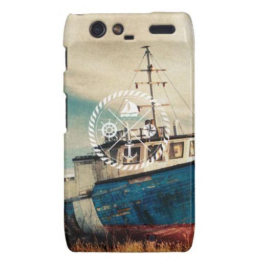 Covet!   Blue Brown Vintage Nautical Anchor Sailing Boat Droid RAZR Case