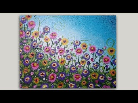 Acrylic Painting Whimsical Flower Garden On Sponge Painted