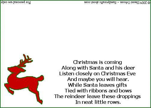 Christmas Reindeer Poop Poem and Bag Tag: Printable Reindeer Poop Poem Tag