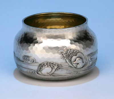 Matching waste bowl with duck motif to Dominick & Haff's Japanesque style sterling tea service, c1881 (spencermarks)