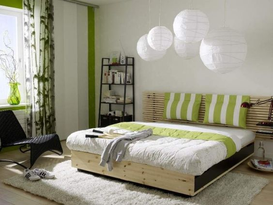 Schlafzimmer Design-Farbenwahl Grün-Weiß Pendelleuchten ...