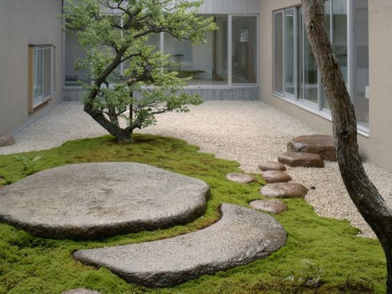 Modern courtyard with japanese minimalist features