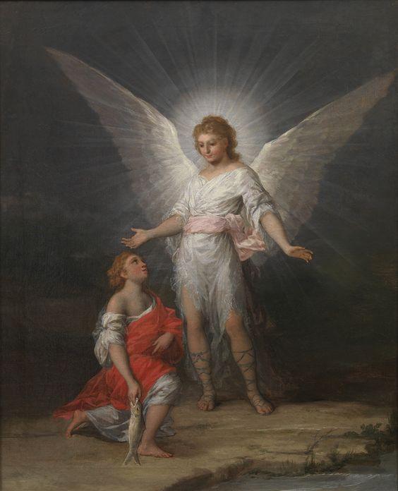 """Francisco de Goya: """"Tobías y el ángel"""". Oil on canvas, 63,5 x 51,5 cm, c. 1787. Museo Nacional del Prado, Madrid, Spain"""