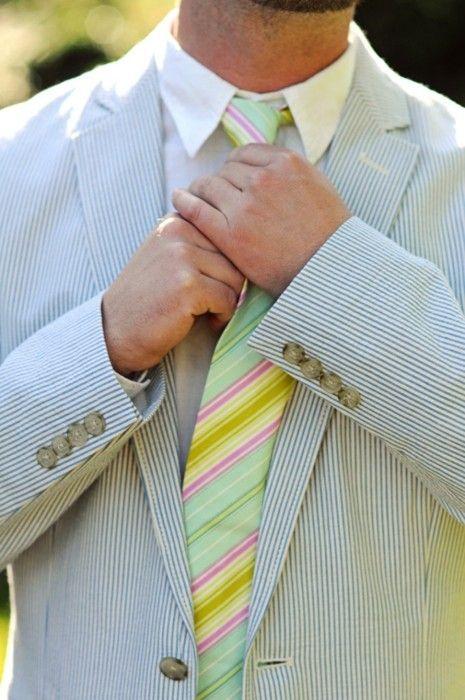 striped tie and seersucker suit #stripes #seersucker #suit #yellow #green #pink
