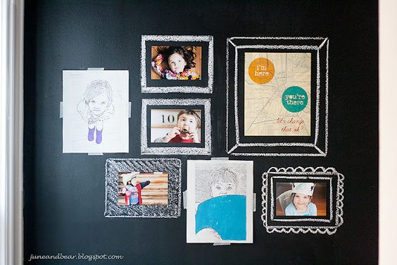 chalkboard wall....hang pictures and create frames with chalk