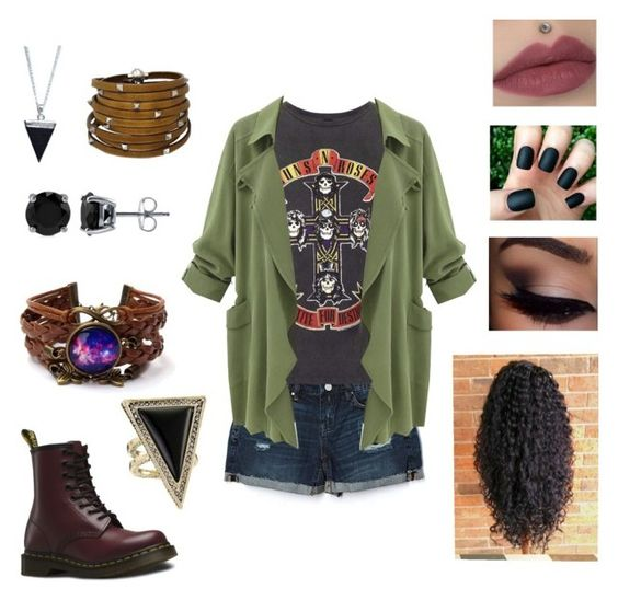 """Guns N' Roses"" by oliphantt on Polyvore featuring BLANKNYC, And Finally, Dr. Martens, BERRICLE, Sif Jakobs Jewellery and House of Harlow 1960"