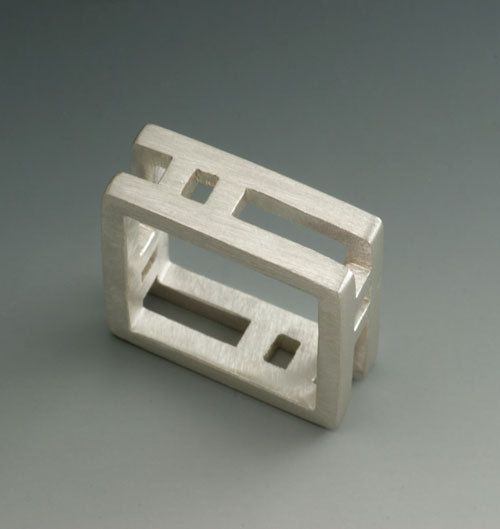 Sterling Silver Womens or Mens Square Wedding Ring double band