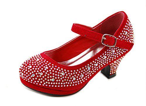 Dana-53k Little Girl Mid Heel Rhinestone Pretty Sandal Dress Shoes ...