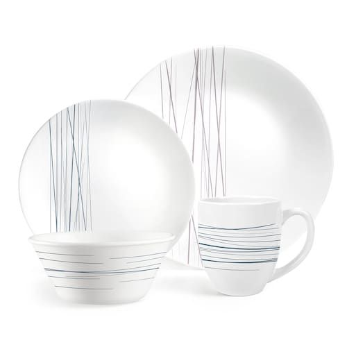 Corelle Boutique Silver Strands 16 Piece Dinnerware Set