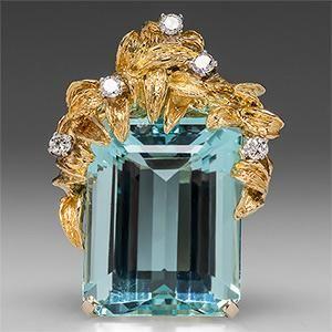36 CARAT EMERALD CUT AQUAMARINE PENDANT W/ DIAMONDS 14K & 18K GOLD