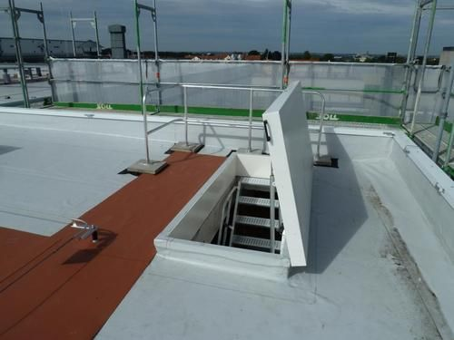 A Roof Hatch With Fixed Stairs From Staka Offers You The Most Comfortable Roof Access High Quality Great Service Quote Roof Access Hatch Roof Hatch Roof