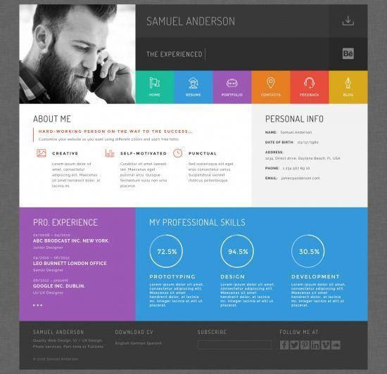Pin By Angela Kirsch On Websites Personal Website Portfolio Online Cv Resume Design Template