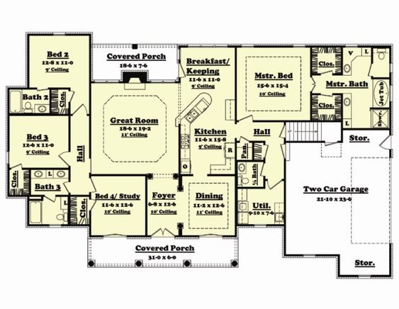 Floor plan 4 bedrooms 2 living rooms under 2000 sq ft for 4 bedroom house plans with bonus room