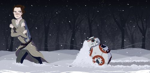 triangular-mapleleaf: Rey and BB-8: There's no way these two misfits enjoy the snow