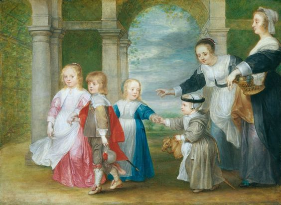 Philip Fruytiers (1610-66) Four Children of Peter Paul Rubens and Helena Fourment with Two Maids  c. 1638-9 Watercolour, bodycolour and pencil