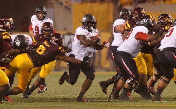 Utah's Kelvin York runs the ball against Arizona State on Sept. 22, 2012. (Trent Nelson     The Salt Lake Tribune)