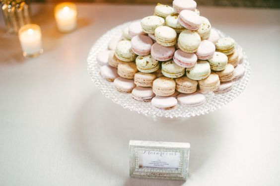 Macaroons: http://www.stylemepretty.com/little-black-book-blog/2014/04/10/new-york-glamour-in-a-wisconsin-barn-wedding/ | Photography: Paper Antler - http://paperantler.com/