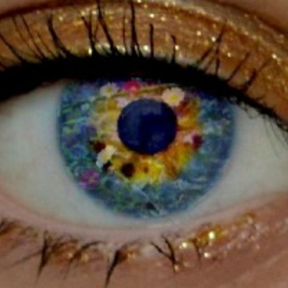 My beautiful daughter's eye, double exposure with flowers.