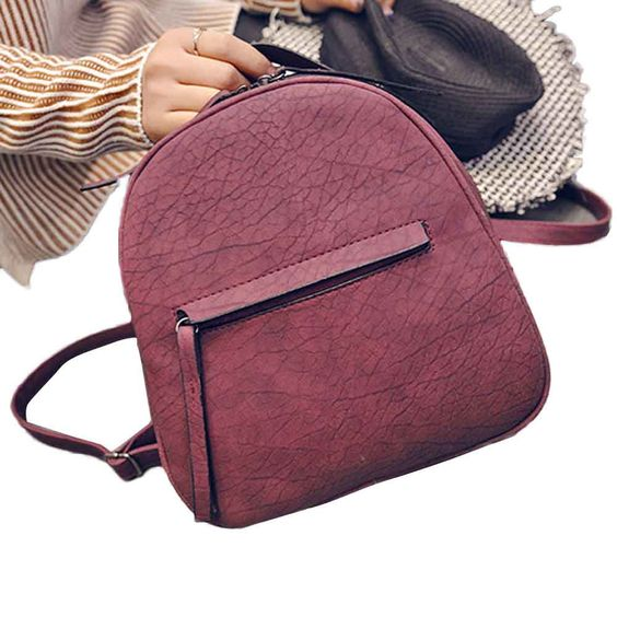 Hot Sale 2016 New Fashion Women PU Leather Backpacks Schoolbags Travel Shoulder Bag Simple Style Designer Small Backpack Ladies