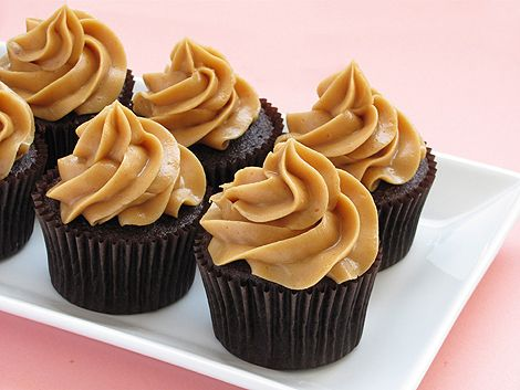 Dark Chocolate Peanut Butter Cupcakes.  Made these recently, delicious!  I added mini Reese's cups to the top.