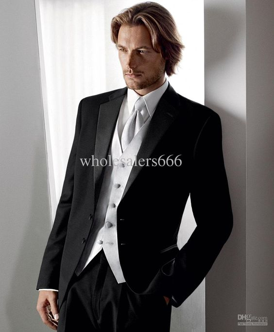 New Arrival Black Suit Silver Vest Groom Tuxedos Best Man Notch
