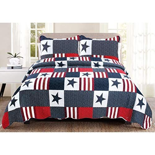 Lv 2 Piece White Red Blue Stars And Stripes Quilt Twin Set