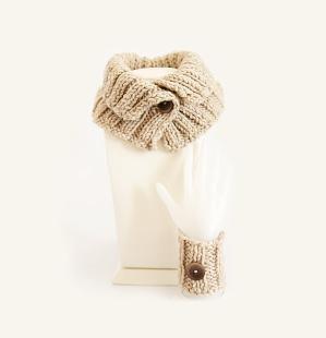 Punhos mão Cowl Chunky camelo malha de inverno capuz por selenayselenay por selenayselenay1