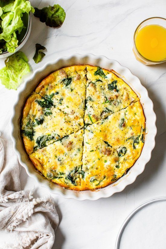 Crustless Sausage And Spinach Quiche Recipe Recipes Skinny Taste Recipes Breakfast Recipes Easy