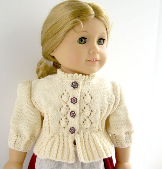 Knitting Pattern Doll Cardigan : American Girl Doll 18