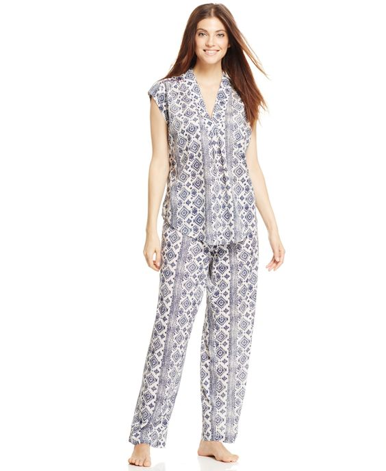 Lucky Brand Woven Top and Pajama Pants Set