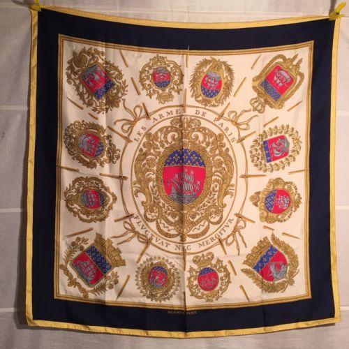 HERMES-90-Tuch-Les-Armees-de-Paris-foulard-carre-Seide-1954-VINTAGE-GRYGKAR