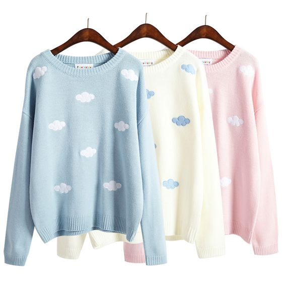 """Sweet patch embroidery clouds sweater knit Coupon code """"cutekawaii"""" for 10% off"""