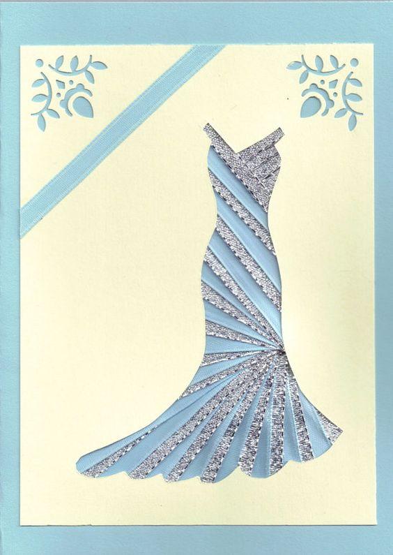 Multifunktionsleiste Iris gefaltete Karte - Kleid in Silber und blau