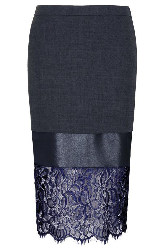 Lace Hem Midi Pencil Skirt by Unique | Dress skirt, Midi pencil ...