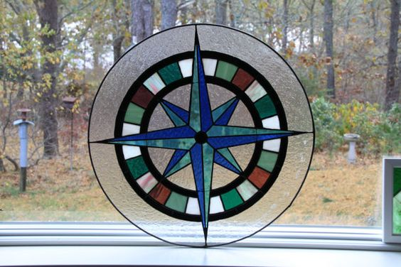 Stained Glass Compass Rose by tobiaswoodandglass on Etsy, $525.00
