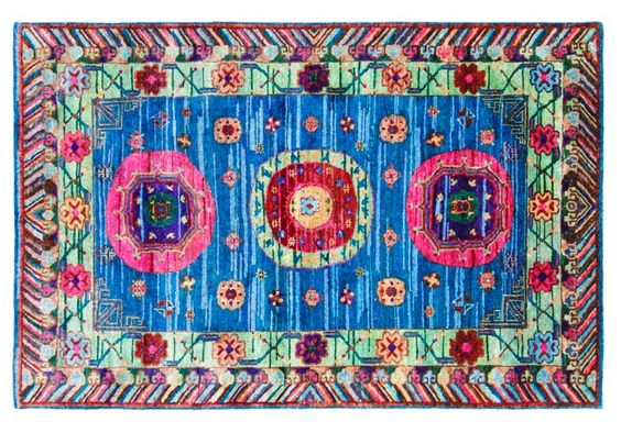 "7'11""x10' Sari Silk Lipari Rug, Blue | Handmade Foundations | One Kings Lane"