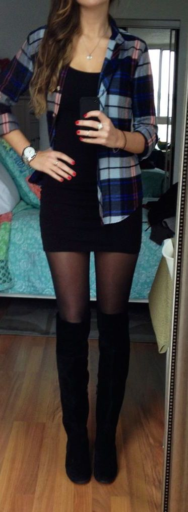 #fall #fashion / black + plaid