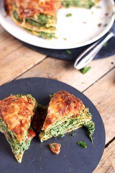Pancake Stack mit Spinat - Herzhafter Pfannkuchen Turm mit Spinat (9)