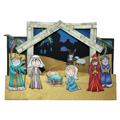 This is the Gorgeous Nativity set designed by Sharon Bennett for Hobby Art. Clear set contains 11 Clear stamps. This Stunning Card was made by Sally Dodger: