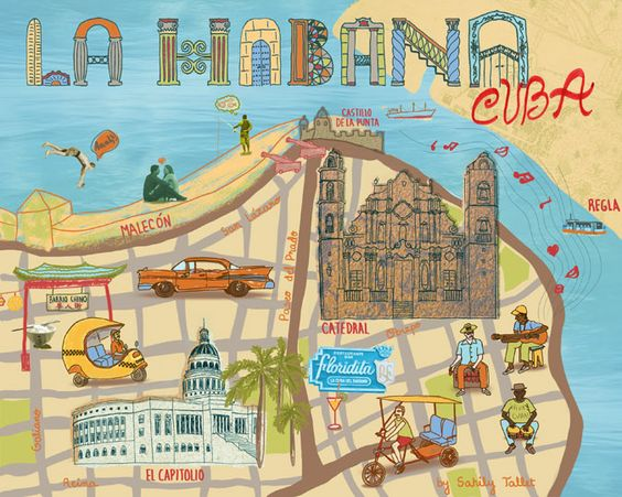 Illustrated Map Havana by Sahily Tallet map havana cuba – Cuban Tourist Attractions Map