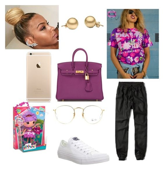 """Went 2 the store"" by slayday ❤ liked on Polyvore featuring Abercrombie & Fitch, Hermès, Converse, Ray-Ban and Lalaloopsy"