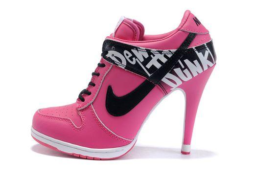Image detail for -Nike Dunk SB High-heels Women shoes-pink/black/white | Nike Dunks High ...