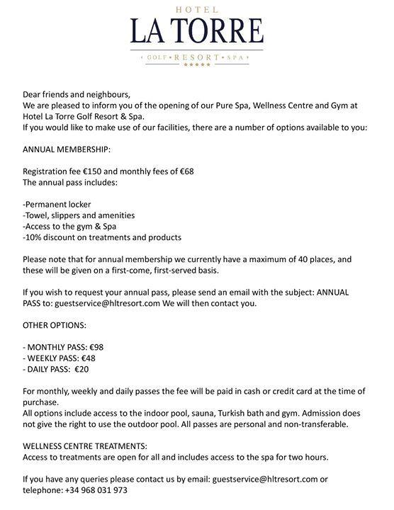 Hotel La Torre Golf Resort & Spa Spa & Gym Information | Hotel la, Resort  spa, Golf resort
