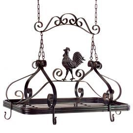"Iron pot rack with a rooster motif.  Product: Pot rackConstruction Material: IronColor: BlackFeatures: Displays your pots and pans in styleDimensions: 21"" H x 24"" W x 14"" D"