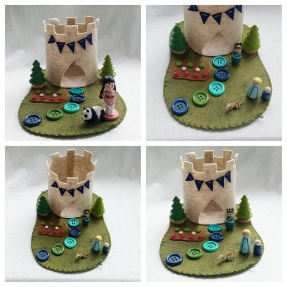 Button Path Castle Playscape wool felt play mat imagination play storytelling storybook fairytale dollhouse peg doll princess imagination