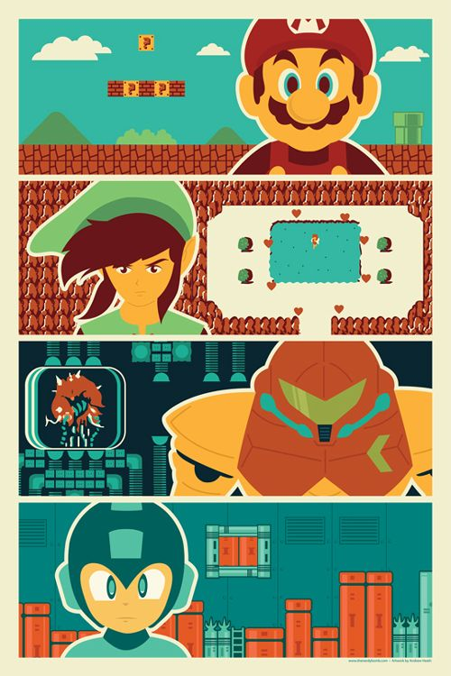 Mario, Link, Samus and Megaman: