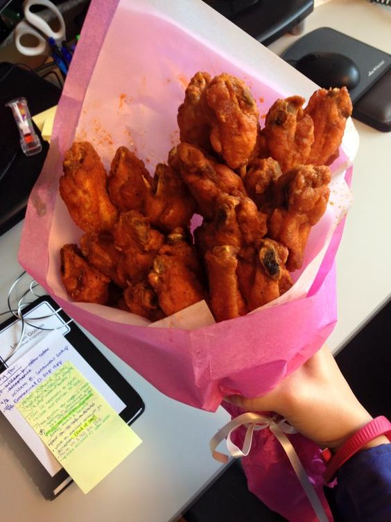 It's my name day and my boyfriend delivered a bouquet of hot wings to my work.