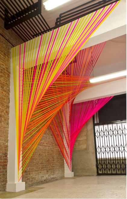 installation by Megan Geckler but could be a good way to do 'cubicle' partitions- electrical wire in different colours? or jellyyarn
