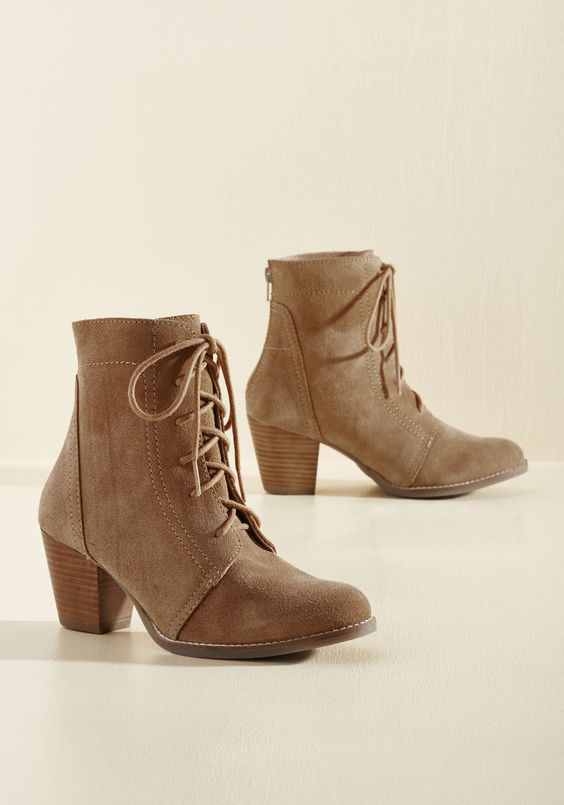 Suede Your Options Boot - Tan, Solid, Work, Casual, Minimal, Fall, Mid, Better, Lace Up, Chunky heel, Ankle, Brown, Neutral